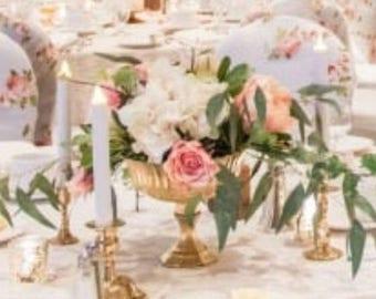 Beautiful Floral Yellow Gold Vase Compotes Pedestal Vases Wedding Centerpieces Centrepieces Pedestal Goblet Gold Glass Bouquet Arrangement
