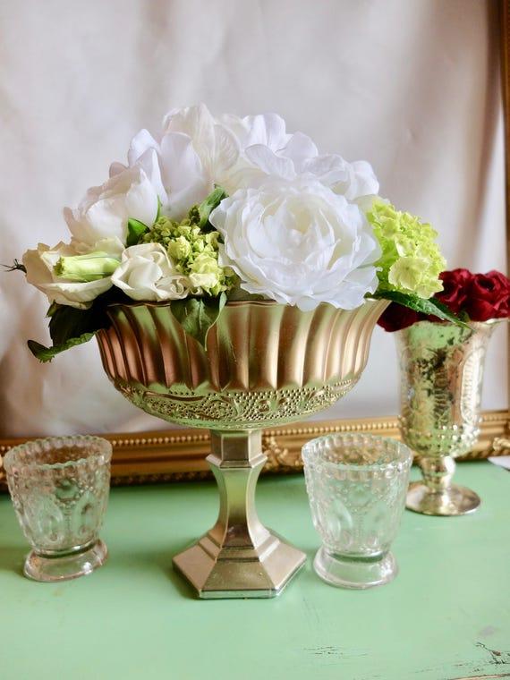 Floral Glass Vase Glass Pedestal Vase Wedding Centerpiece Etsy