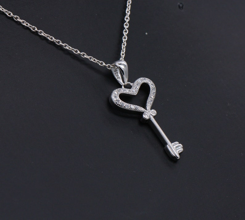 925 Sterling Silver Heart Blue Fiery Opal Pendant Cubic Zirconia Necklace CZ
