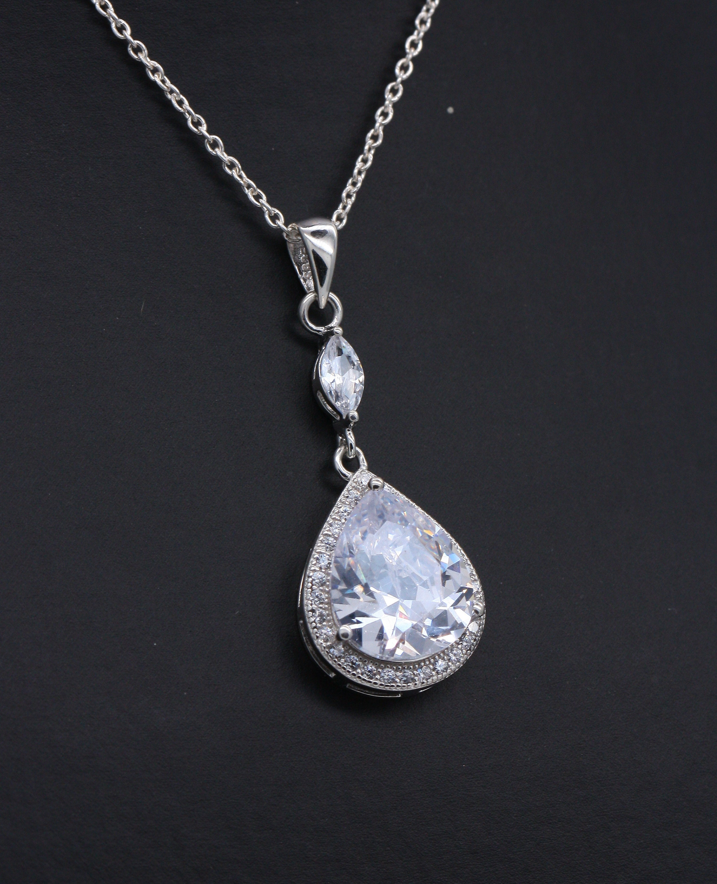 925 Sterling Silver Bicycle Necklace with Zircon Stone