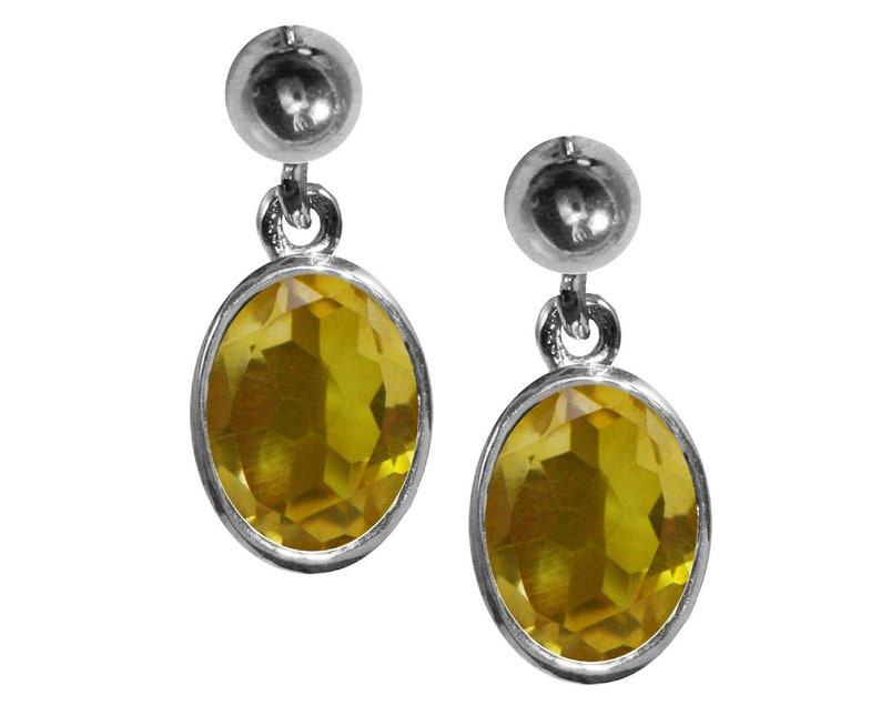 BJC\u00ae 9ct White Gold Natural Citrine Oval Single Drop Dangling Studs Earrings High Quality British Made Jewellery