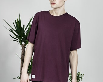 Men's Organic Plain T-shirt - Aubergine