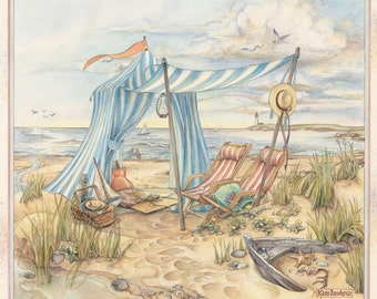 Beach Pavilion  Watercolor Painting by Kim Jacobs