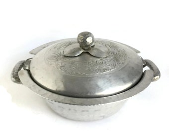 Vintage Pyrex Casserole Dish and Metal Holder Hand Forged by Everlast  c1930's
