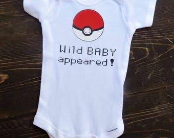 01ec6bda Pokemon onesie bodysuit creeper for baby boy or girl so very cute pokemon go  black and white available