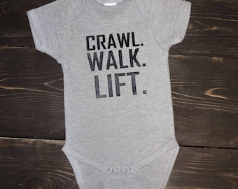 89b3f7c6d Crawl walk lift onesie for baby boy or girl so cute and adorable bodysuit  creeper little man exercise weights