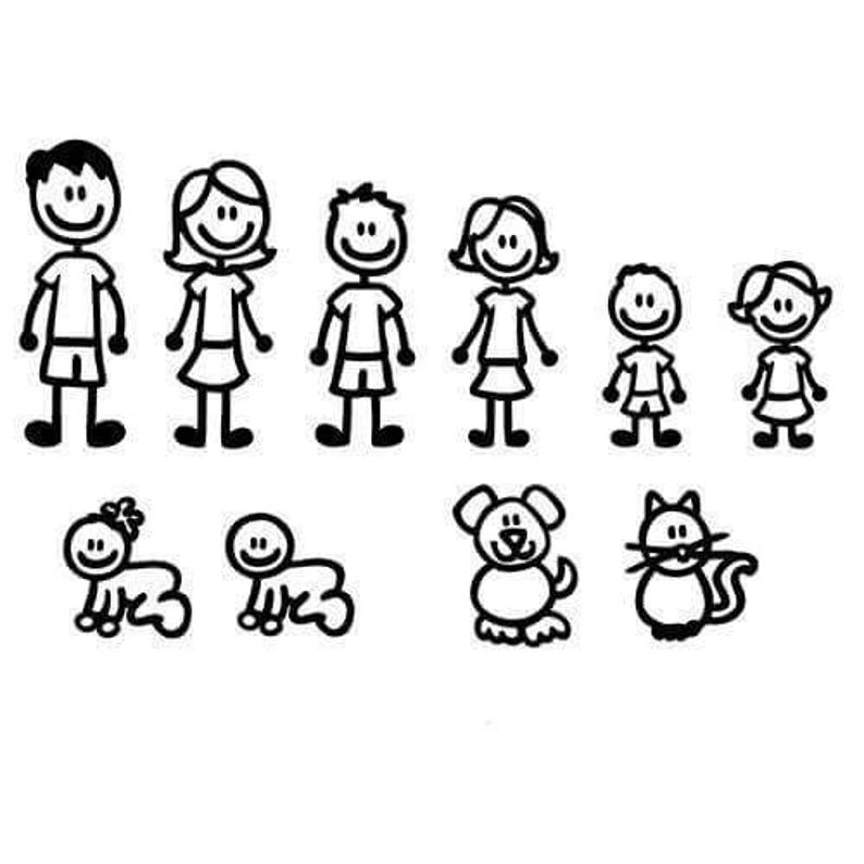 51461fb74 Standard family decal car stickers mom dad brother sister baby