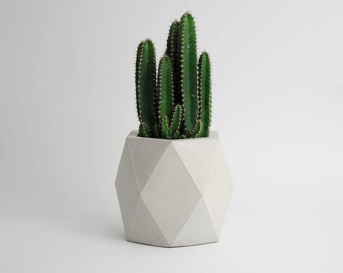 ORE IN GRAY | Geometric Concrete Vase - Planter - Pot - Utensil Holder