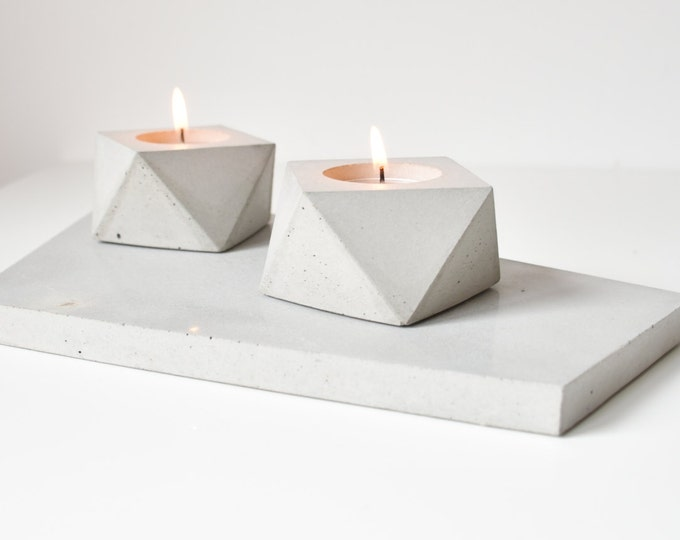 FORMA | Concrete Tea Candle Holder - Set of 2