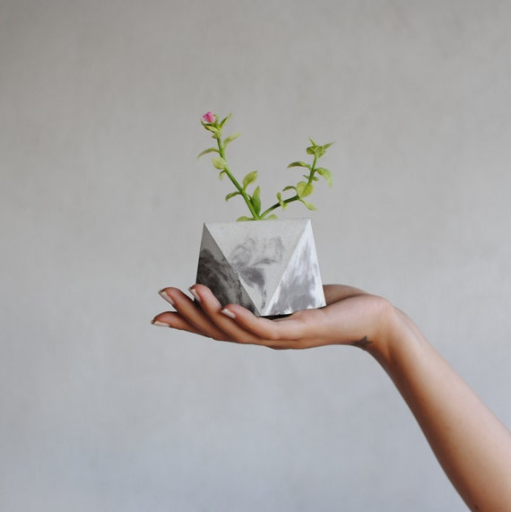 FORMA | Small Marble Planter - Concrete Geometric Planter - Marble decor