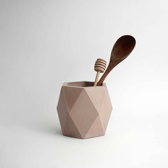 ORE IN PINK | Geometric Concrete Vase - Planter - Pot - Utensil Holder