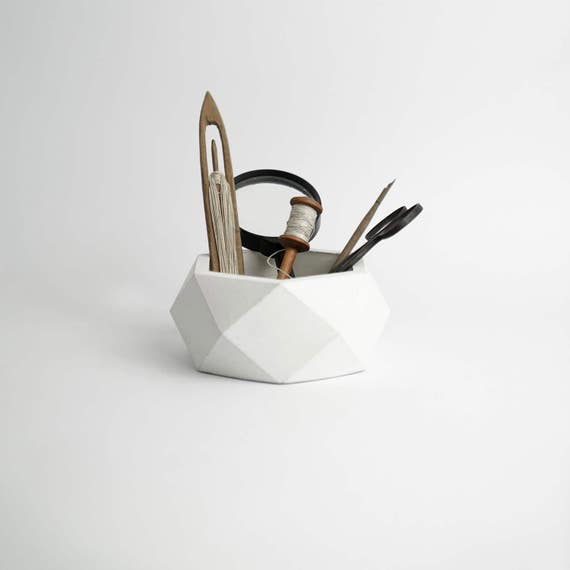 ORE | White Concrete Succulent Planter - Vase - Pot - Utensil Holder