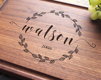 Personalized, Engraved Cutting Board with Leafy Wreath Design for Wedding or Housewarming Gift. 938
