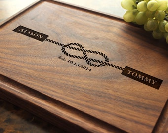 Personalized, Engraved Cutting Board with Tying the Knot Design for Engagement or Wedding Gift. 805