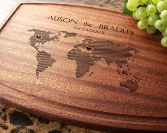 Personalized, Engraved Cutting Board with Long Distance Design for Wedding or Anniversary Gift. 605