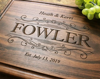Personalized, Engraved Cutting Board with Swirl Design for Wedding or Anniversary Gift. 002
