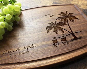 Personalized, Engraved Cutting Board with Palm Trees and Beach Design for Wedding or Anniversary Gift. 409