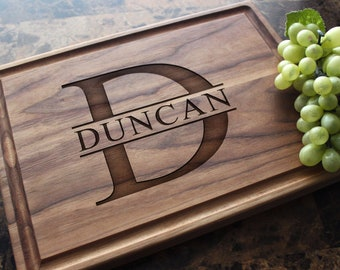 Personalized, Engraved Cutting Board with Monogram Design for Wedding or Housewarming Gift. 201