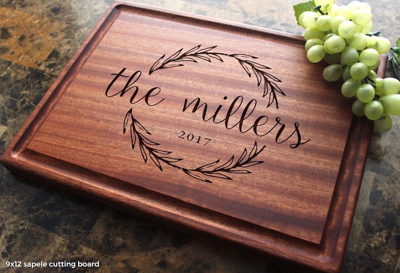 Personalized Olive Wreath Cutting Board  Engraved Custom 12x9 Sapele w/j*