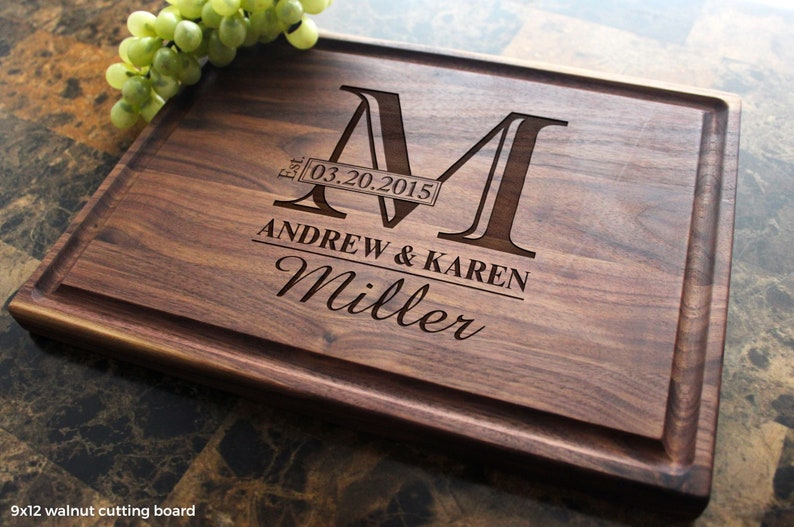 Personalized Monogram Engraved Cutting Board  Wedding image 0: great love gifts