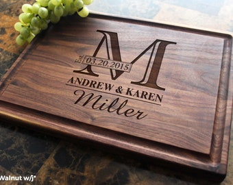 Personalized, Engraved Cutting Board with Monogram Design for Wedding or Anniversary Gift. 003
