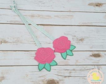 Pre-Order* Embroidered Shabby Chic Floral Reach Straps on Sage Green Floral Fabric,  Coordinates w Tula Rosy Posy. *These are NOT for FTG*