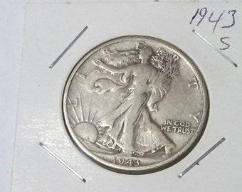 1943 S   Walking Liberty Half Dollar , Very Fine or Better , 90% Silver