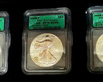 20th Anniversary 2006 W  Proof , 2006 P reverse Proof and 2006 W Satin Finish  PR70  DCAM Eagle Coins