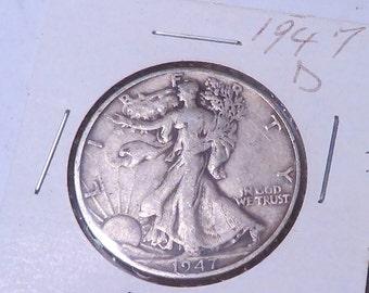 1947 D   Walking Liberty Half Dollar , Very Fine or Better , 90% Silver