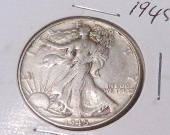 1945 Walking Liberty Half Dollar , Very Fine or Better , 90% Silver