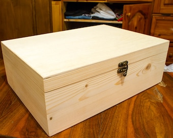 Big box unfinished wood box 35x25x12 cm lid wood box