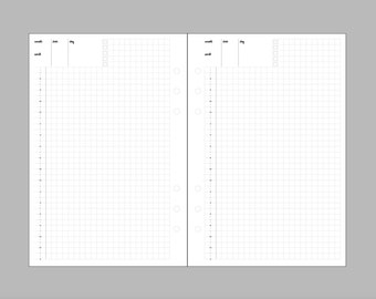 Kikki K Large or Filofax A5 Watercolor Inserts: Undated Hobonichi-style Pages FULL GRID