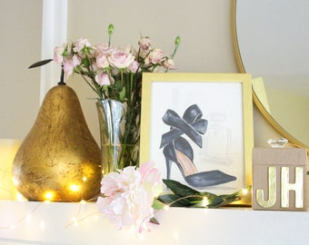 Classy Black Heels with Ankle Bow Watercolor Art Print