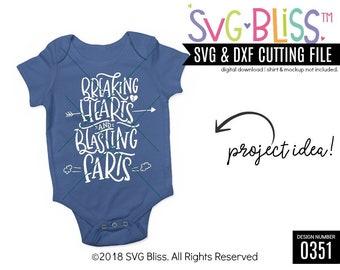 Breakin/' Hearts Blasting Farts Babygrow Cute Sweet Funny Joke New Baby Gift