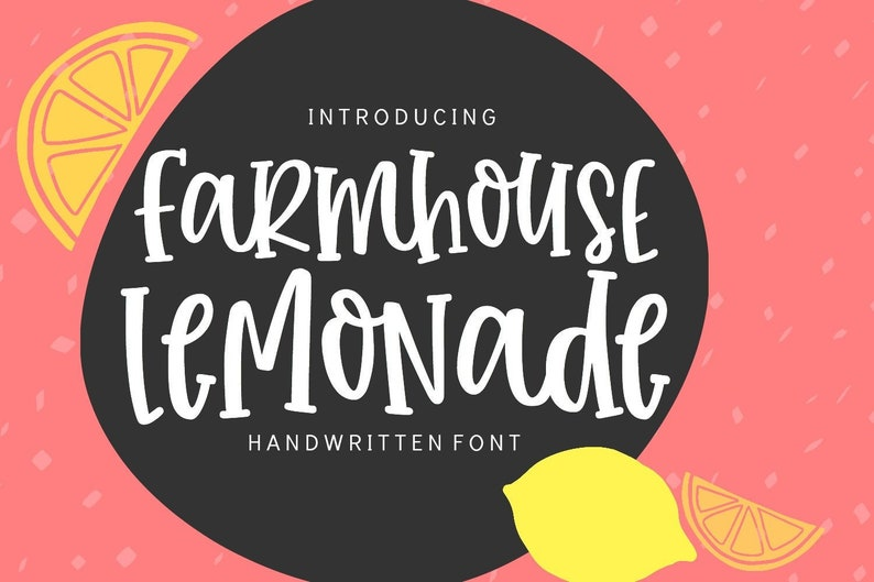 Farmhouse Lemonade Digital Font Download for Commercial Use, Handwritten  Typeface Font Design Open Type True Type