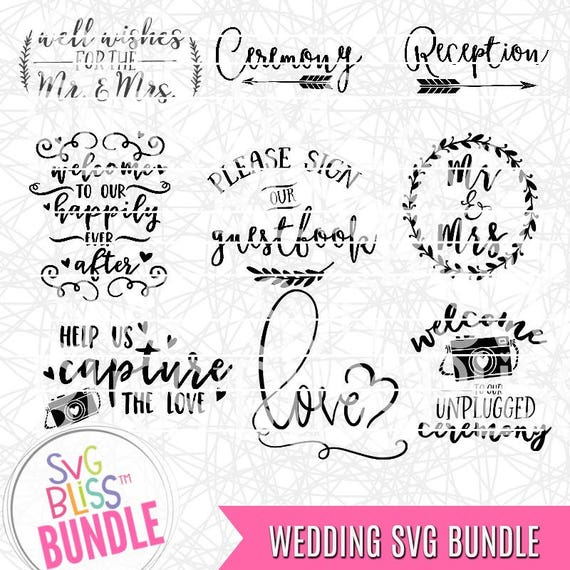 Wedding SVG Bundle Ceremony Reception Sign Our Guestbook