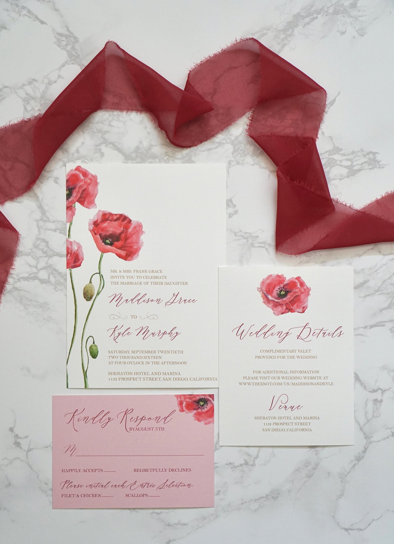 Pink Petals Wedding Invitation Suite | Etsy