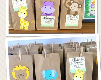 Safari Animal Party Favor Bags, Animal Gift Bags, Zoo Animal Favor Bags, Safari Theme Favors, Party Favors