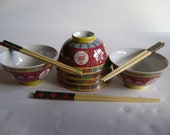 Vintage Famille Rose rice bowls Jiangxi Jingdezhen Longevity, Luck, Happiness Chopstick gift 3 sets Mother 39 s Day Birthday