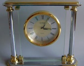 Vintage Danbury Brass Mantle clock Brass Glass clock very heavy solid brass display decor Anniversary gift Birthday gift