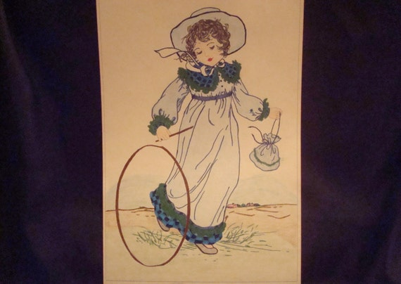 Kate Greenaway Coloring book Pictures of Girls Reminiscent of the Past  1950s already colored in with colored pencils