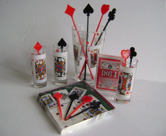18 Supplied Card Suits Cocktail Swizzle Stick Stirrers