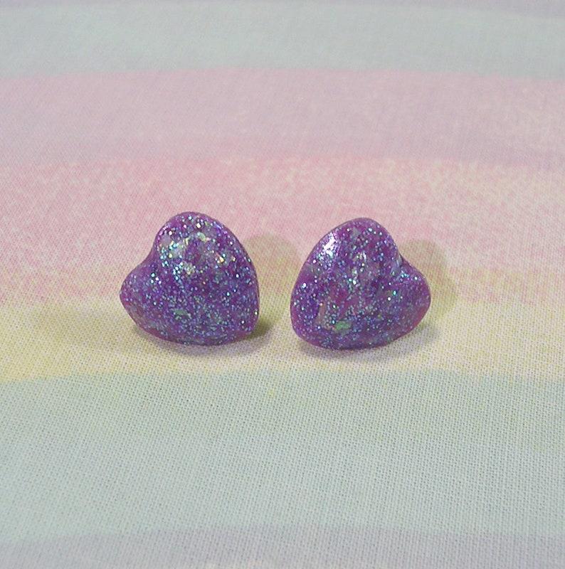 Fairy Kei Earrings Glitter Heart Earrings Pop Kei Earrings image 0