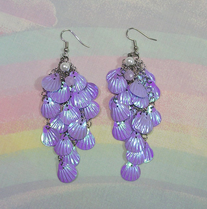 Seapunk Earrings Mermaid Earrings Mermaid Sequin Earrings image 0