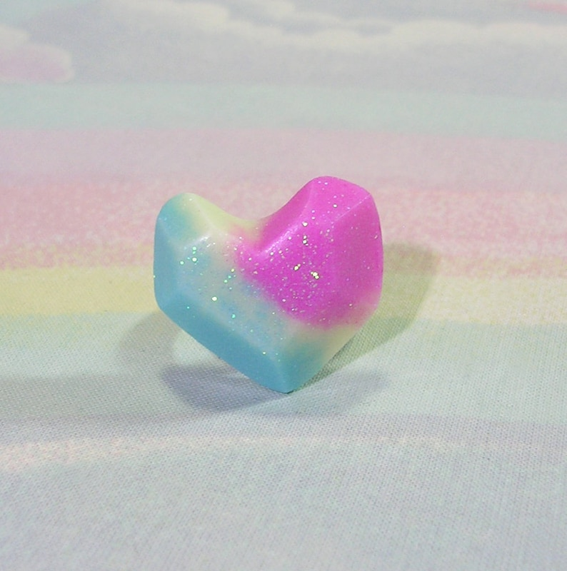 Glitter Heart Ring Fairy Kei Ring Rainbow Heart Ring Pop image 0