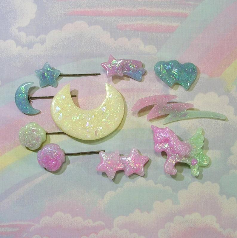 Fairy Kei Grab Bag, Pop Kei Grab Bag, Decora Grab Bag, Magical Girl Grab  Bag, Kawaii Grab Bag, Glitter Hair Clips, Fairy Kei Hair Clip Lot