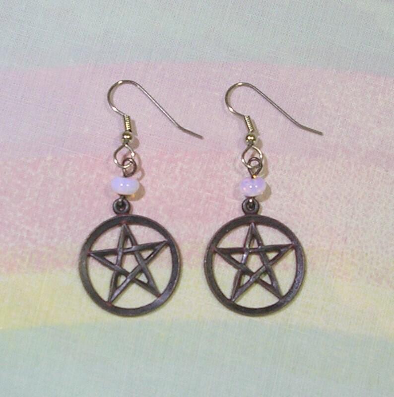 Pastel Goth Earrings Black Pentagram Earrings Gothic image 0