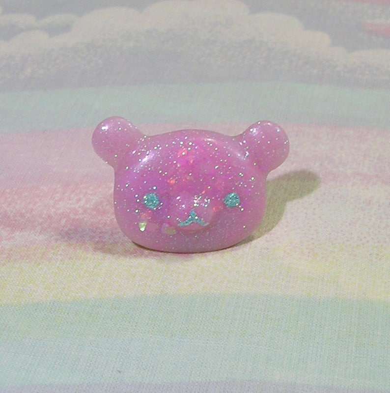 Fairy Kei Ring Pop Kei Ring Decora Ring Kawaii Bear Ring image 0