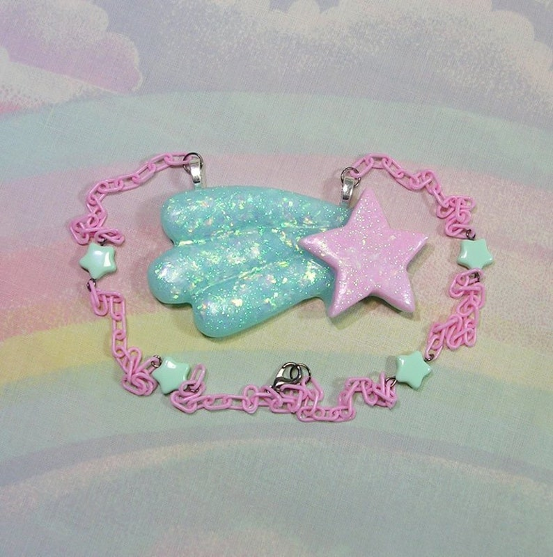 Fairy Kei Necklace Pop Kei Necklace Shooting Star Necklace image 0