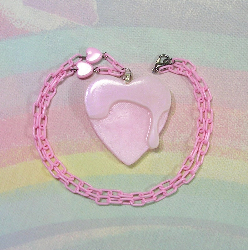 Frosted Heart Necklace Fairy Kei Necklace Pop Kei Necklace image 0